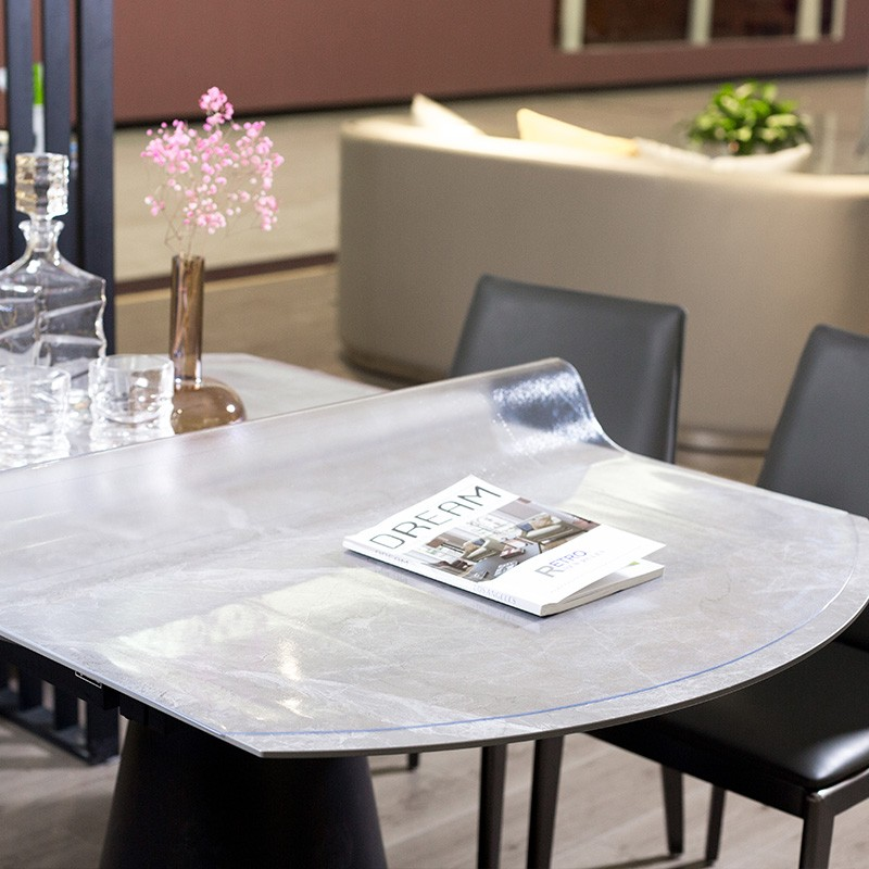 glxy عديم الرائحة شفافة لينة الزجاج خط مخفي بسيط للماء الجدول القماش طاولة الشاي بولي كلوريد الفينيل